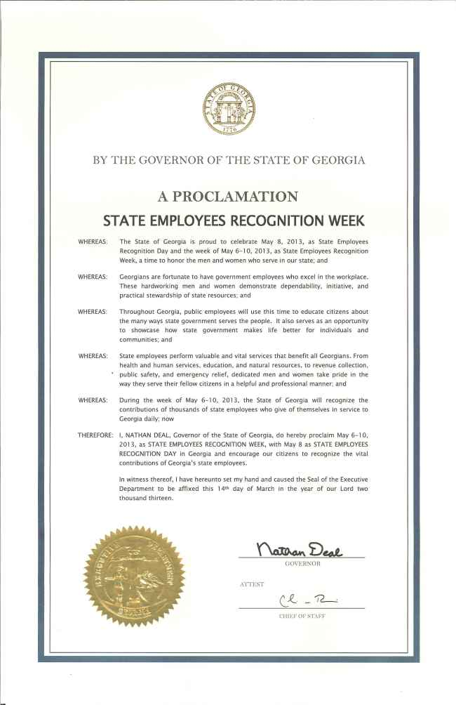 2013 State Employees Recognition Week Proclamation