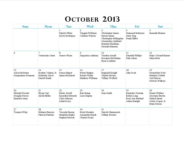 GWCCA October13Birthdays
