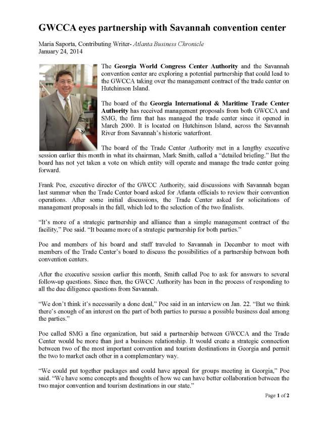 01-24-14 Atlanta Business Chronicle - GWCCA eyes partnership with Savannah convention center_Page_1