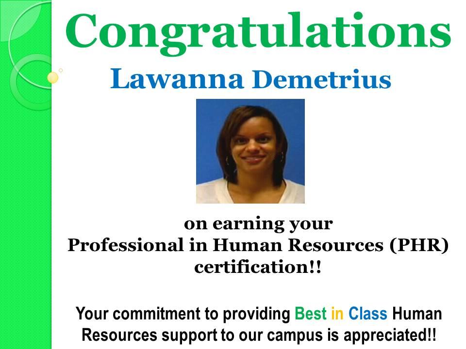 Congratulations Lawanna Demetrius Catalyst