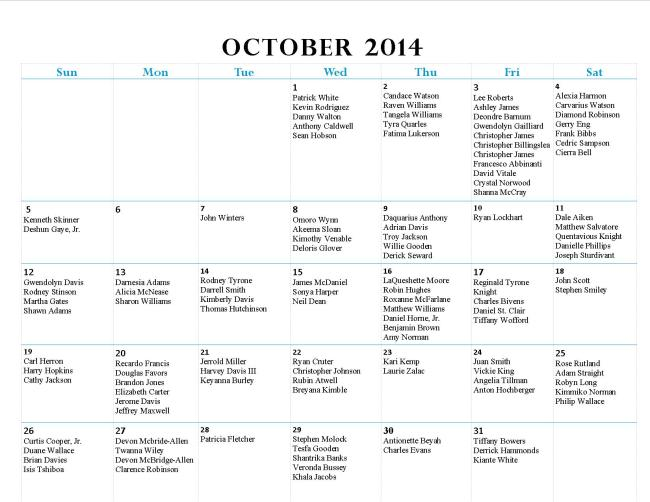 GWCCA October14 Birthdays