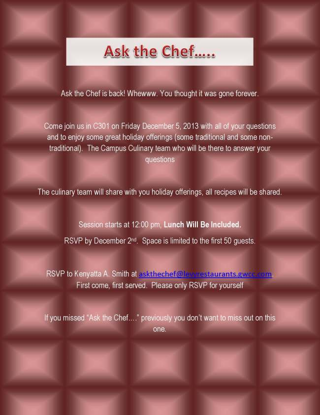Ask the Chef    December 2014
