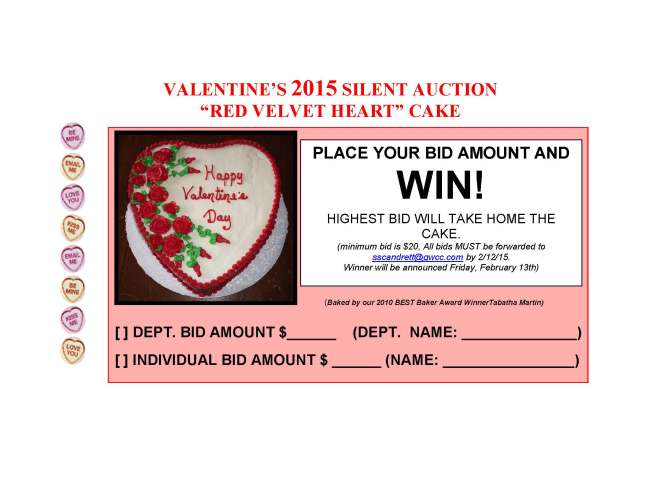 SCCP Valentine Silent Auction 2015 Red Velvet Cake
