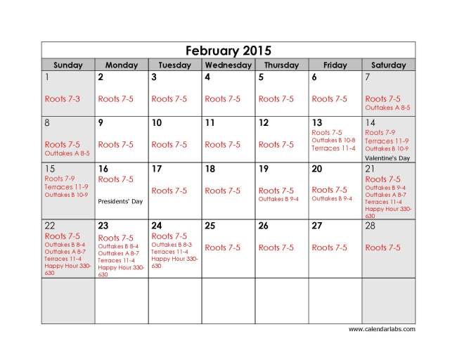 Feb 2015 Roots and Outtakes Schedule