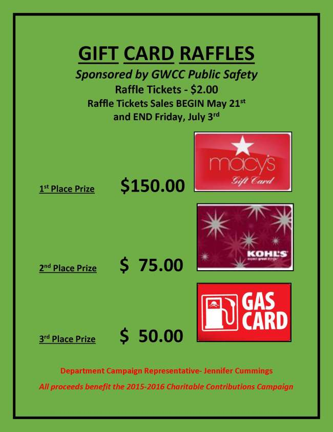 SCCP Department Fundraiser GPS GIFT CARDS RAFFLES 2015