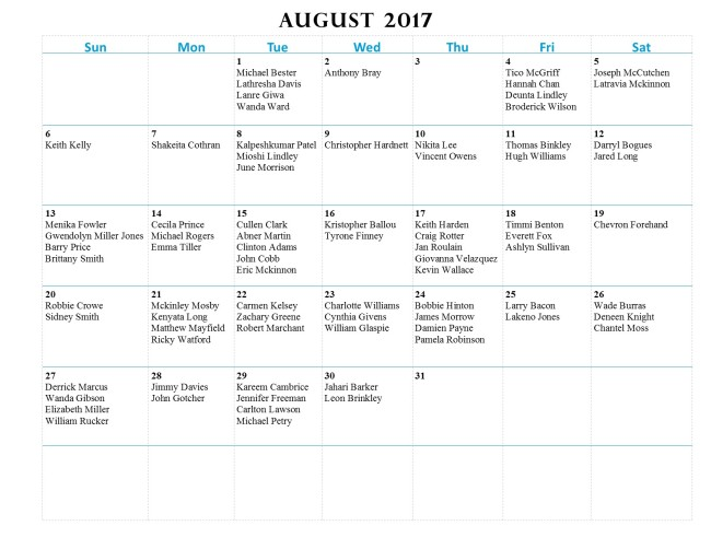 GWCCA Birthdays - August 2017
