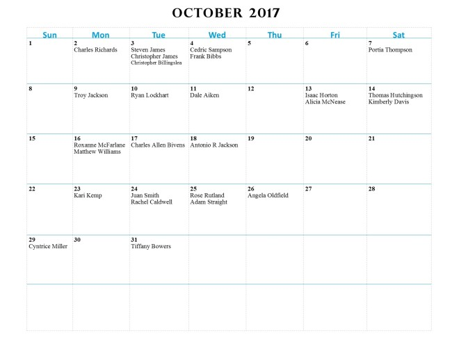 GWCCA Birthdays - October 2017