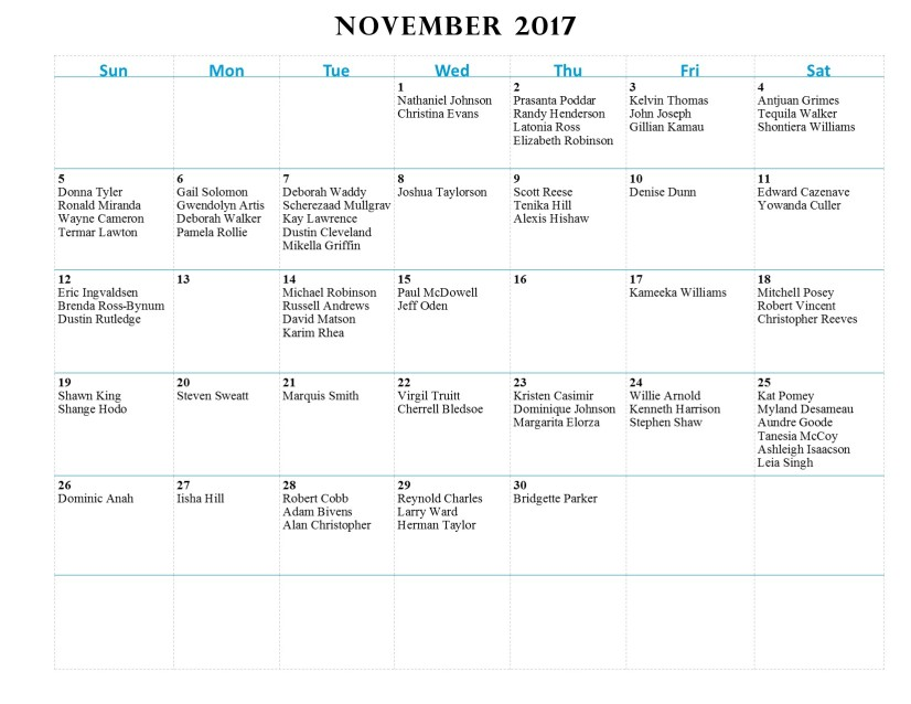 GWCCA Birthdays - November 2017
