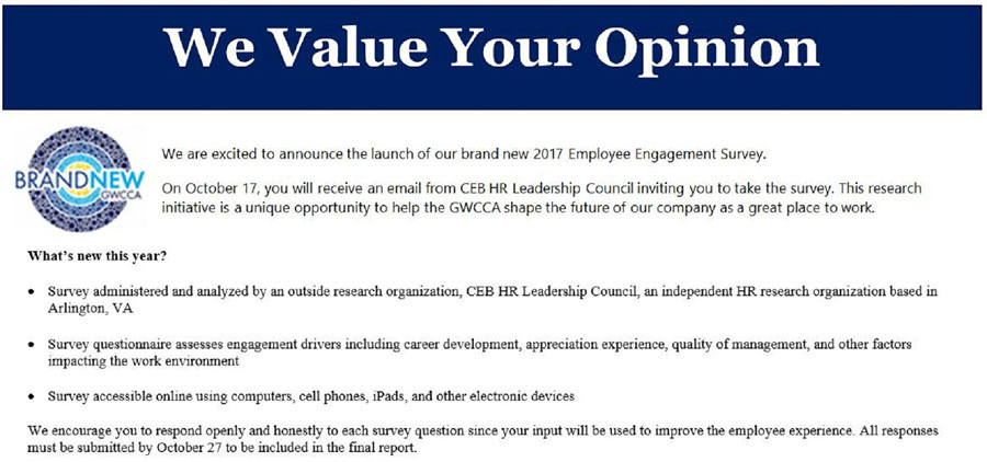 ... Employee Engagement Survey. Make Your Voice Count! Pshr2