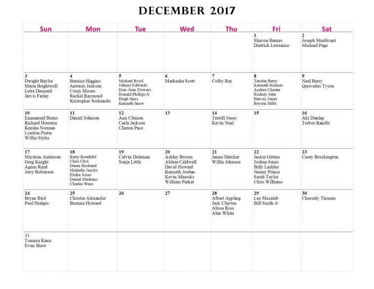 GWCCA Birthdays - December 2017