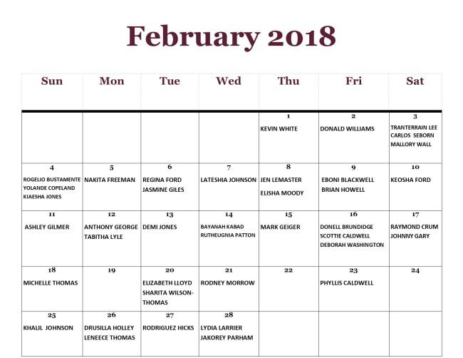 GWCCA Birthdays - Feb 2018