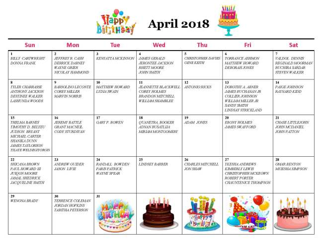 April Birthday Calendar 2018
